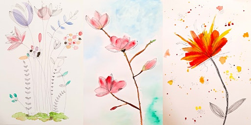 Floral Watercolours & Line Drawing (Orange)