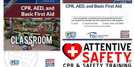 CPR, AED and Basic First Aid, $80, Same day certification tickets