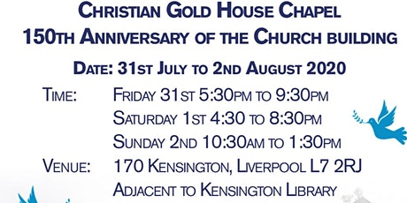 10TH ANNIVERSARY OF CHRISTIAN GOLD HOUSE CHAPEL tickets