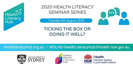2020 Health Literacy Seminar 4: Consumer Engagement: Ticking the box or doing it well? tickets
