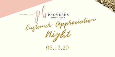 Proverbs Boutique Customer Appreciation Night tickets