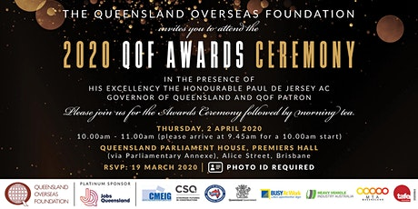 THE QUEENSLAND OVERSEAS FOUNDATION 2020 AWARD CEREMONY tickets