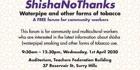 Waterpipe smoking and other forms of tobacco use Community workers forum tickets