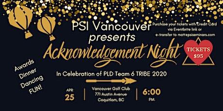 PLD Team 6 Tribe 2020 Acknowledgement Night tickets
