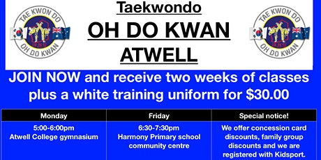 Come and try Taekwondo Atwell classes tickets
