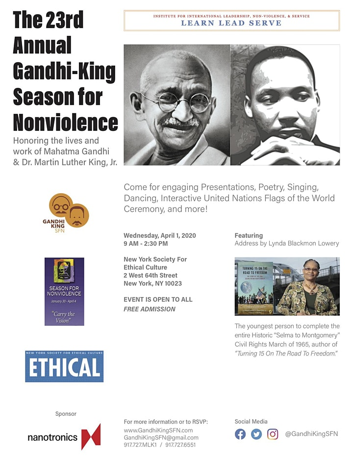 """The 23rd Annual """"Gandhi-King Season For Nonviolence"""" image"""