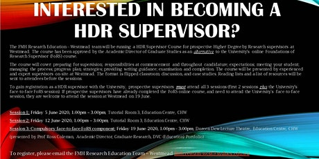 HDR Supervisor Course - ALL sessions tickets