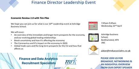 MRK Associates Finance Leadership Event- Economic Review 2.0 with Tim Pike tickets