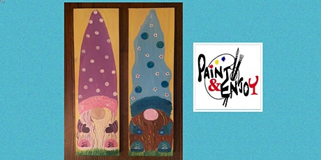 """Paint and Enjoy at Belmont Bean Co. """"Spring Gnome"""" on wood tickets"""