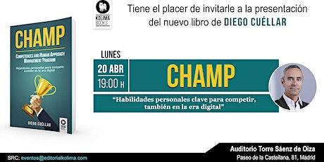 Presentación de CHAMP con Diego Cuéllar entradas