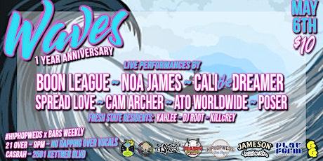 Waves 1 Year - Boon League, Noa James, Cali the Dreamer, Spread Love tickets