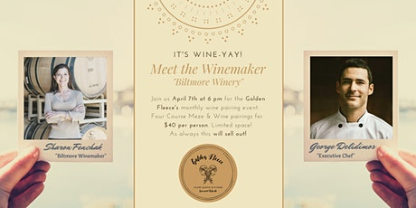 """Golden Fleece Wine Pairing Dinner """"Meet the Winemaker"""" from Biltmore Winery tickets"""