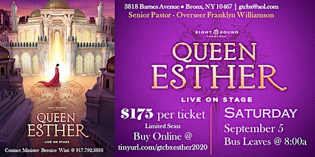 Queen Esther Live! @ Sight & Sound Theatres - Saturday, September 5, 2020 tickets