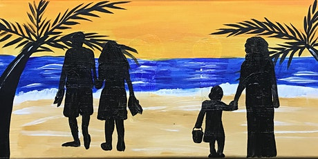 """Adult Open Paint (18yrs+) """"On the Beach"""" Design your own with silhouettes tickets"""
