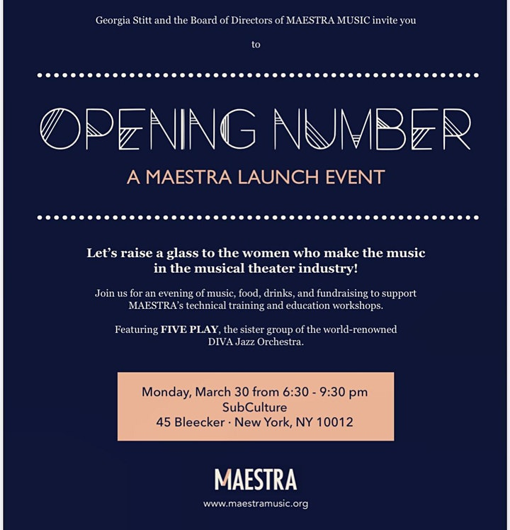 OPENING NUMBER: A Maestra Launch Event (CANCELED) image