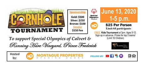Cornhole Tournament to Benefit Special Olympics of Calvert & St. Mary's Counties! June 2020 tickets