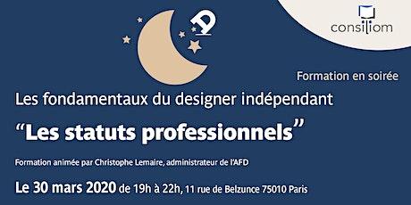 """Atelier """"Statuts professionnels"""" du designer à l'AFD tickets"""