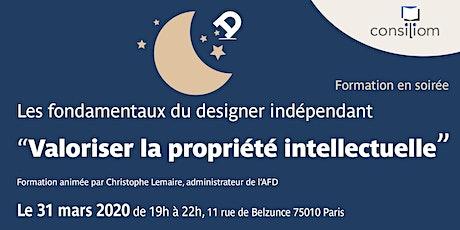 """Atelier """"Valorisation de la propriété intellectuelle """" du designer à l'AFD billets"""