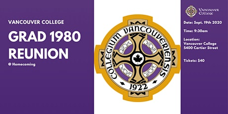 Vancouver College Grad '80 Reunion (40 Years) tickets