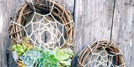 Grapevine Wreath with live succulents and Macrame touch tickets