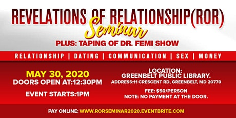 Revelations of Relationship (RoR) Seminar tickets