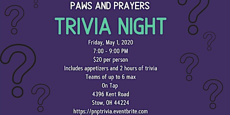 Paws and Prayers Trivia Night tickets