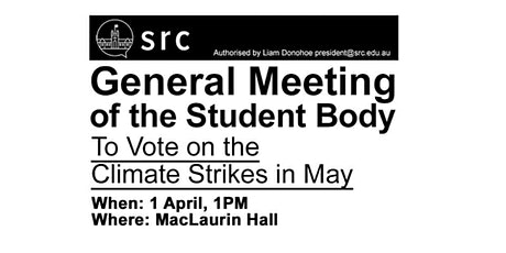General Meeting of the Student Body: Vote on the Climate Strikes tickets