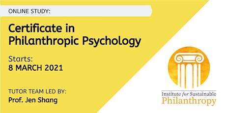 Certificate in Philanthropic Psychology -  8 March 2021 tickets