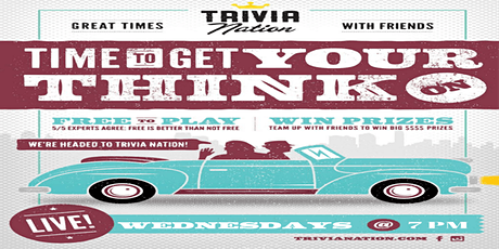 Trivia Nation Free Live Trivia at Eddie's Bar and Grill Wednesday's at 7PM tickets