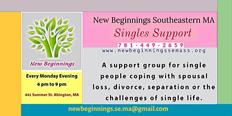 Singles Support-New Beginnings Southeastern MA tickets
