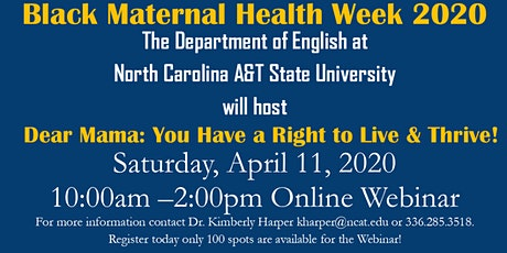 Black Maternal Health Week 2020/Dear Mama: You Have a Right to Live & Thrive tickets