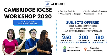 CAMBRIDGE IGCSE WORKSHOP for SCIENCE, MATHEMATICS & ENGLISH FIRST LANGUAGE tickets