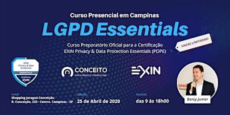 CURSO LGPD ESSENCIAL EM CAMPINAS - TURMA ABRIL/20 ingressos