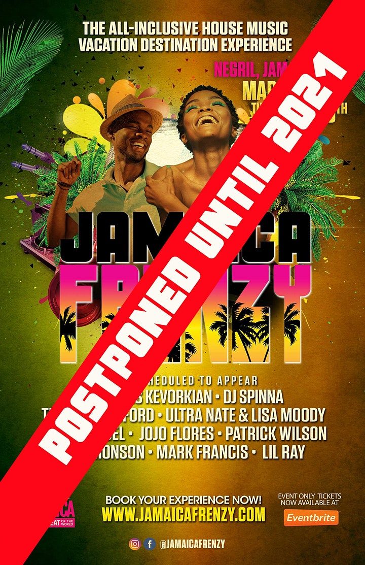 Jamaica Frenzy Events Only Party Pass - POSTPONED to 2021!! image