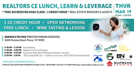 "Free Realtors CE Class (TREC Accredited ""HVAC"" Class - 1 Credit Hour) tickets"
