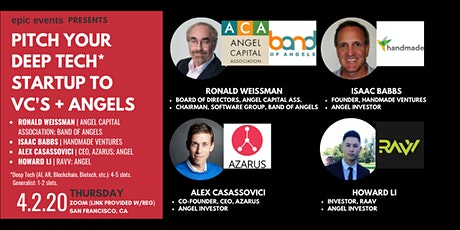 Pitch Your Deep Tech Startup to Investor Panel of VCs and Angels (On Zoom) + 1:1 Virtual Networking tickets