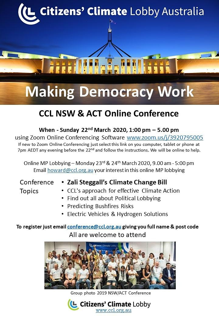 Online Climate Action Conference - NSW & ACT Citizens' Climate Lobby image