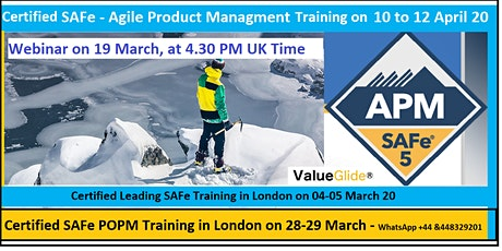 Certified SAFe Agile Product Management, 10-12 April 20 in London tickets