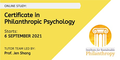 Certificate in Philanthropic Psychology -  6 September 2021 tickets