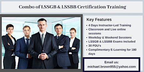 Combo of LSSGB & LSSBB 4 days Certification Training in Lower Lake, CA tickets