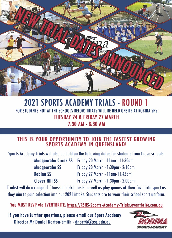 Robina SHS Sports Academy Trials Year 7 2021 image
