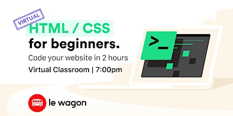 [virtual classroom] HTML & CSS for Beginners bilhetes