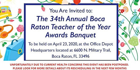 POSTPONED: 34th Annual Boca Raton Teacher of the Year Awards Banquet tickets