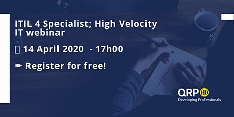 Webinar ITIL4 Specialist : High Velocity IT tickets