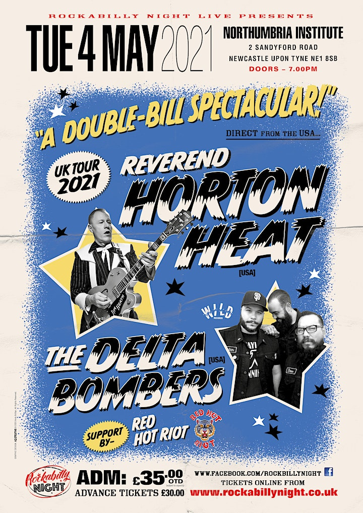 Reverend Horton Heat + Delta Bombers & Support from Red Hot Riot image