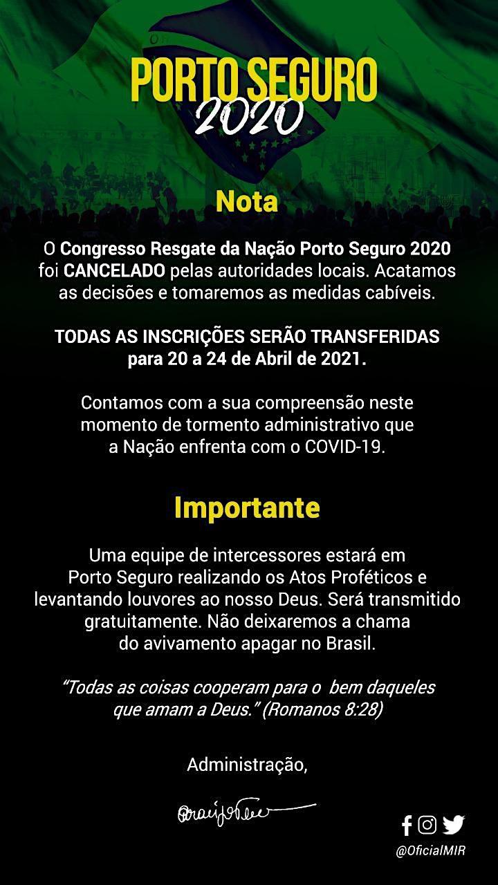 Imagem do evento CONGRESSO DE RESGATE DA NAÇÃO - PORTO SEGURO 2020