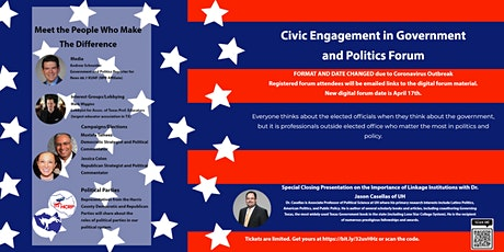 LSC-Tomball Civic Engagement in Government and Politics Forum (ONLINE EVENT) tickets