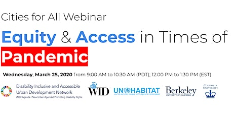 Cities for All: Equity & Access in Times of Pandemic (Coordination) tickets