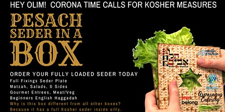 Pesach Seder In A Box. Olim Order Today. Kosher & Fully Loaded. billets