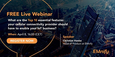 Free webinar: Top 10 essential cellular IoT connectivity features. tickets